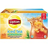 Lipton Black Iced Tea Bags, Decaffeinated Family Size 48 ct (Pack of 3)