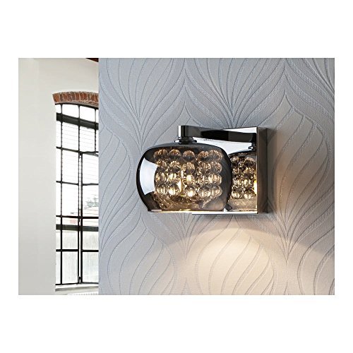Schuller Spain 193091I4L Modern Chrome Open Dome Wall Light 1 Light Dining Room, Living Room, Hallway LED, Glass Diamond Wall Light | ideas4lighting by Schuller