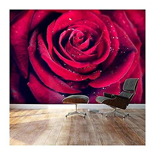wall26 - Large Wall Mural - Close up of Beautiful Red Rose with Waterdrops | Self-Adhesive Vinyl Wallpaper/Removable Modern Decorating Wall Art - 66