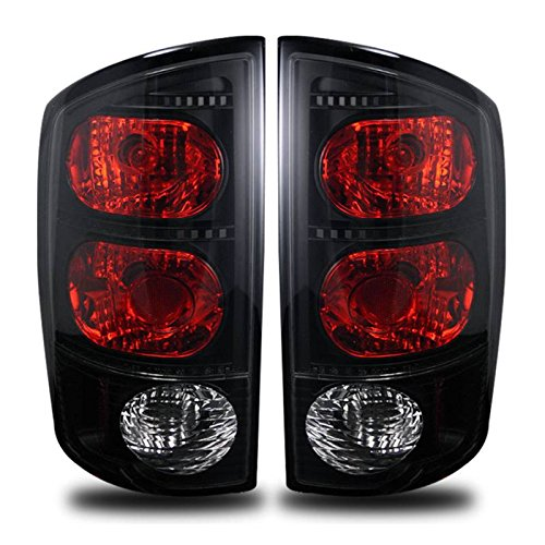 SPPC Dark Smoke Euro Tail Lights Assembly Set for Dodge Ram - (Pair) Includes Driver Left and Passenger Right Side Replacement