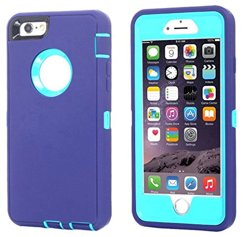 Cover Blue Protector Case (Ai-case Built-in Screen Protector Tough 4 in1 Rugged Shorkproof Cover With Kickstand for iPhone 6/6S Plus, Purple/Blue(Without Kickstand))