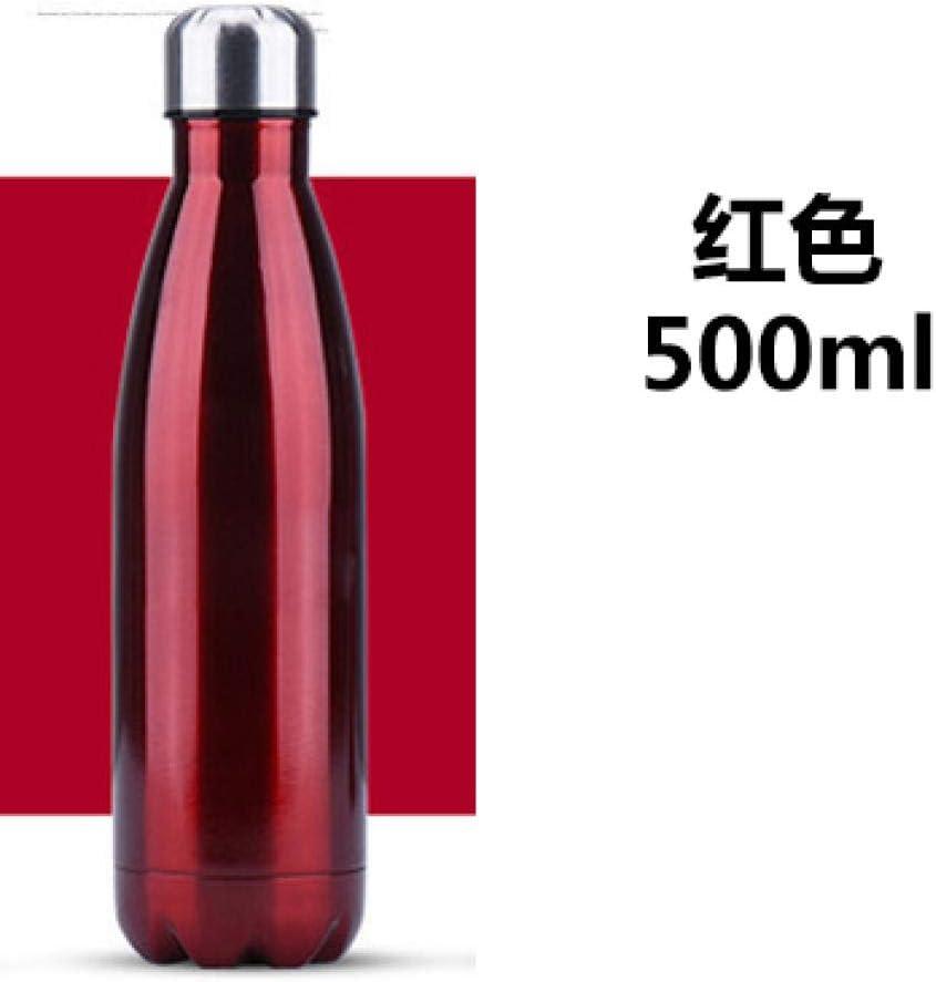 agua acero inoxidable botella termica Creativo minimalista cola botella 500ml-rojo