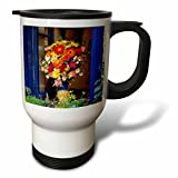 3dRose Danita Delimont - Flowers - Greece, Crete, Window with flowers - 14oz Stainless Steel Travel Mug (tm_277435_1)