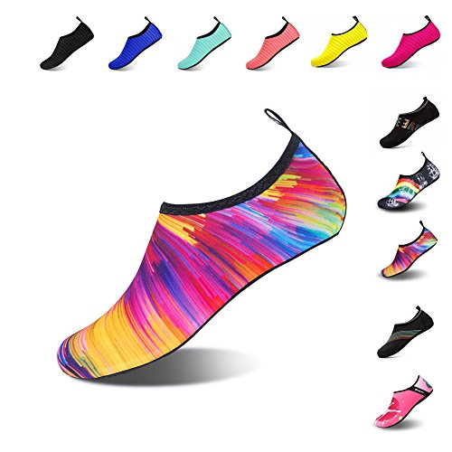 Mens Womens Water Shoes Barefoot Beach Pool Shoes Quick-Dry Aqua Yoga Socks for Surf Swim Water Sport (Colorful, (Play Swim Socks)