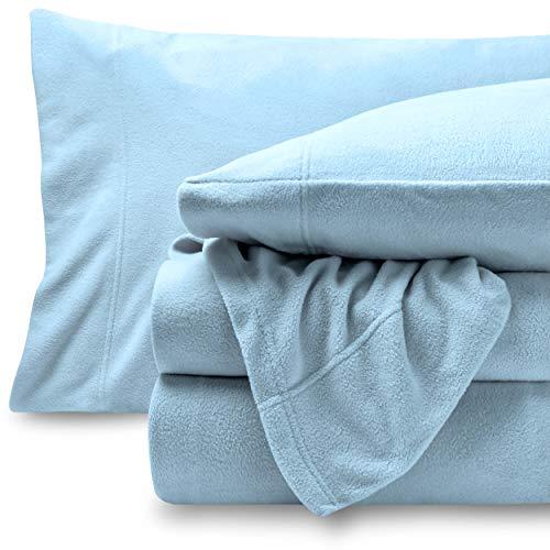 Bare Home Super Soft Fleece Sheet Set - Queen Size - Extra Plush Polar Fleece, Pill-Resistant Bed Sheets - All Season Cozy Warmth, Breathable & Hypoallergenic (Queen, Light Blue) ()