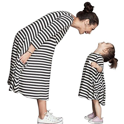 Hatop 1PC Black White Striped Dress Casual Family Clothes Girls Dress (Age:4-5Y)