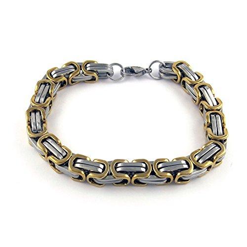 Yeidid International Men's Stainless Steel Bracelet Mechanic Link Byzantine Chain Two-Tone 8.5 inch
