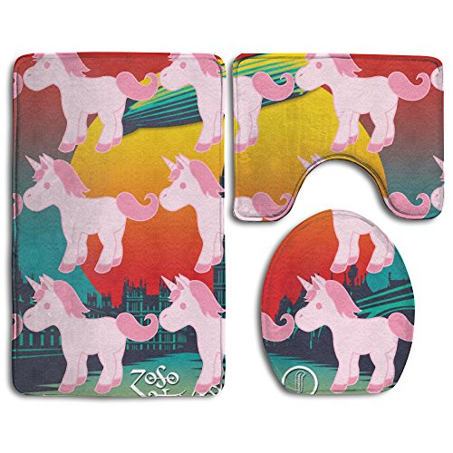 Cute Small Unicorn Non-Slip Bathroom Bath Mat Rug Set, 3 Piece Bath Set Pedestal Rug + Lid Toilet Cover + Bath Mat Decoration 3 Sets Perfect For Bath, Tub, And Shower