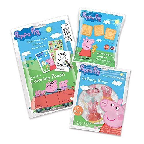 Peppa Pig Cookies, Candy and Coloring Pouch Birthday Party Supply Pack for 12 Guests -
