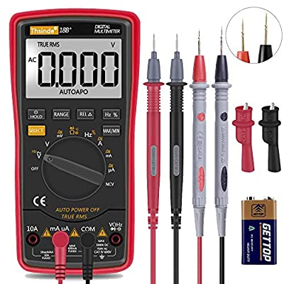Auto Ranging Digital Multimeter TRMS 6000 with Battery Alligator Clips Test Leads AC/DC Voltage/Account,Voltage Alert, Amp/Ohm/Volt Multi Tester/Diode(Red)