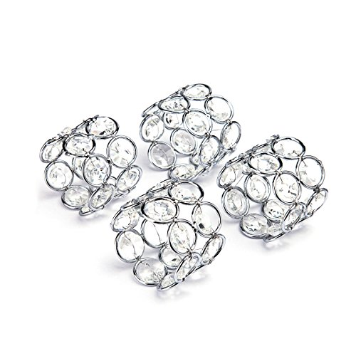 Deco Crystal Ring (Feyarl Silver Napkin Rings Handcraft Sparkly Napkin Rings Crystal Beads Napkin Holders for Wedding Centerpieces Special Occasions Celebration Romantic Candlelit Banquet Festival Decoration)