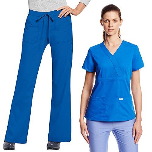 Grey's Anatomy Women Junior Fit Scrub Set Medical Uniform Mock Wrap Top & Elastic Back Pants (New Royal, Small) (Scrubs New Natural Uniforms Top)