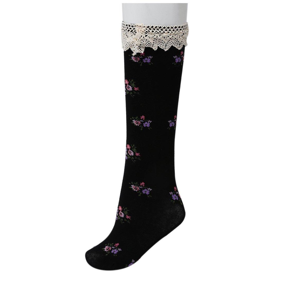 e04aa8e49c9 Amazon.com   Girls High Socks - SODIAL(R)Baby Girls Teens Little Lace  Flower High Socks Knee High In Tube Sock Stockings black   Sports   Outdoors