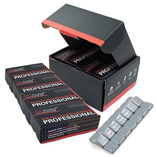 CKAuto 4boxes, 1/2oz, 0.5oz, Grey, Adhesive Stick on Wheel Weights, GM, Ford, Chrysler, 63 oz/Box, US Quality(504pcs) ...