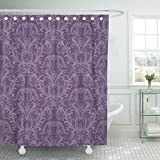 Dusky Pink Shower Curtain Emvency Fabric Shower Curtain with Hooks Pink Damask Purple Floral Vintage Classy Lavender Luxury Victorian Wall Ornate 72