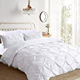 Comforter Sets on Sale slashome Queen Duvet Cover, 3Pcs Pinch Pleat Luxurious Decorative Softest White Brushed Microfiber Bedding Set with Zipper Closure and Corner Ties