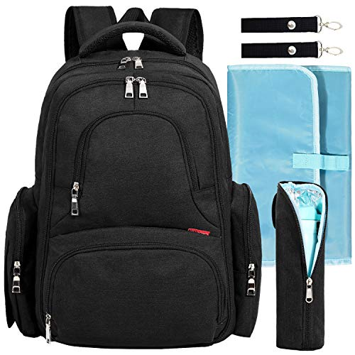 Big Sale - Baby Diaper Bag Waterproof Travel Diaper Backpack with Changing Pad and Stroller Clips (Black)