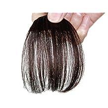 Remeehi Gorgeous Real Human Hair Flat Bangs/Fringe Hand Tied Bangs Mini Fashion Clip-in Hair Extension Dark Brown