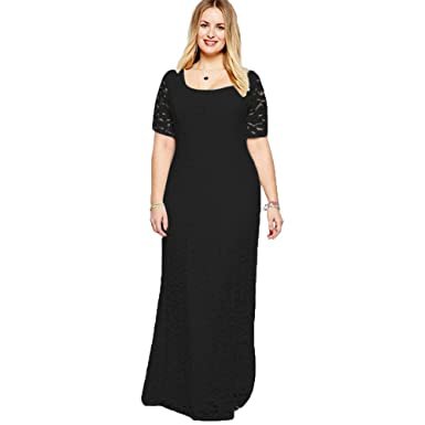 46baef2f14 MooLee Fat beauty Women's Short Sleeve Evening Party Long pure Lace And  Chiffon Maxi Dress (