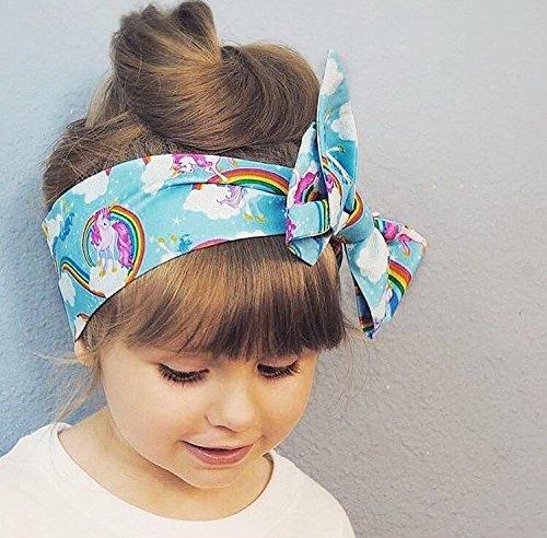 Amazon.com  Rainbow Unicorn Fabric Top Knot Big Bow Headband Head Wrap 65210443e04