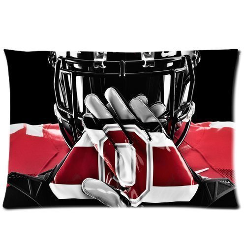 WarmHome Custom Ohio State Buckeyes Home Decorative Soft Throw Pillowcase Cushion Custom Pillow Case Cover Protecter with Zipper Standard Size 20x30 Inches Two Sides Printed