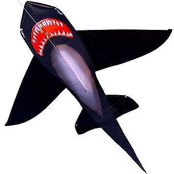 Amazon.com: Hengda Kite para niños realista negro tiburón ...