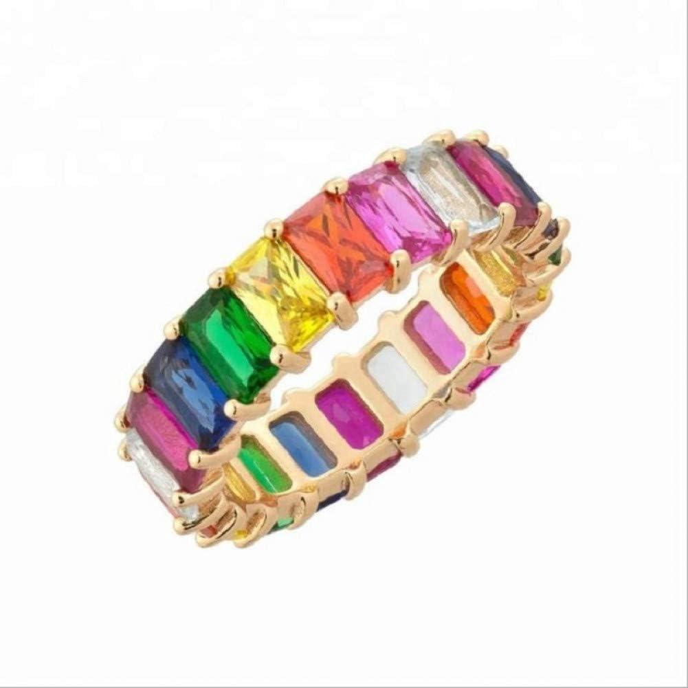 CTDMMJ Rainbow Gold Ring Engagement Zirconia Piedras semipreciosas Encanto Anillos para Mujeres Joyas