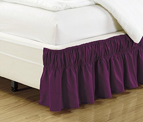 Mk Collection Wrap Around Style Easy Fit Elastic Bed Ruffles Bed-Skirt Queen-king Solid Dark Purple New - Striped Wrap Around Wrap