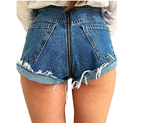 DearQ Women's New Look Sexy Zip up Behind Mid-Rise Denim Shorts Cuffed Hem Shorts Blue XL