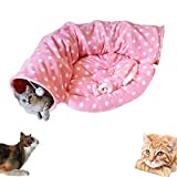 AUOON Cat Tunnel Toy with Half Moon Shape Mat for Cat Dog, Length 51'' Diameter 9'', Pink
