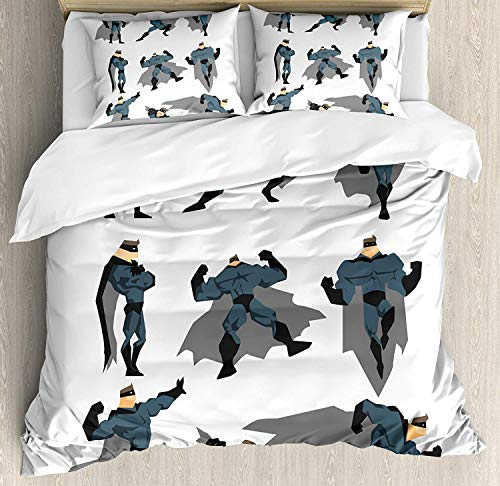 (Superhero Bedding Duvet Cover Set, Fun Cartoon Man in Costume Posing Hero Flying Running with Superpowers Art Print, Decorative 3 Piece Bedding Set with 2 Pillow Shams, White Grey)