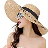 Womens Straw Hat Wide Brim Floppy Beach Cap Adjustable Sun Hat for Women UPF 50+ (Take me Away&Khaki)