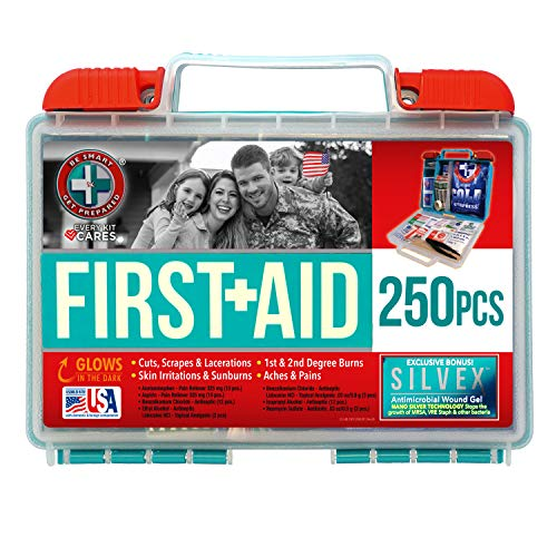 Be Smart Get Prepared 250 Piece Glow in The Dark First Aid Kit, Teal, 1.7 Pound