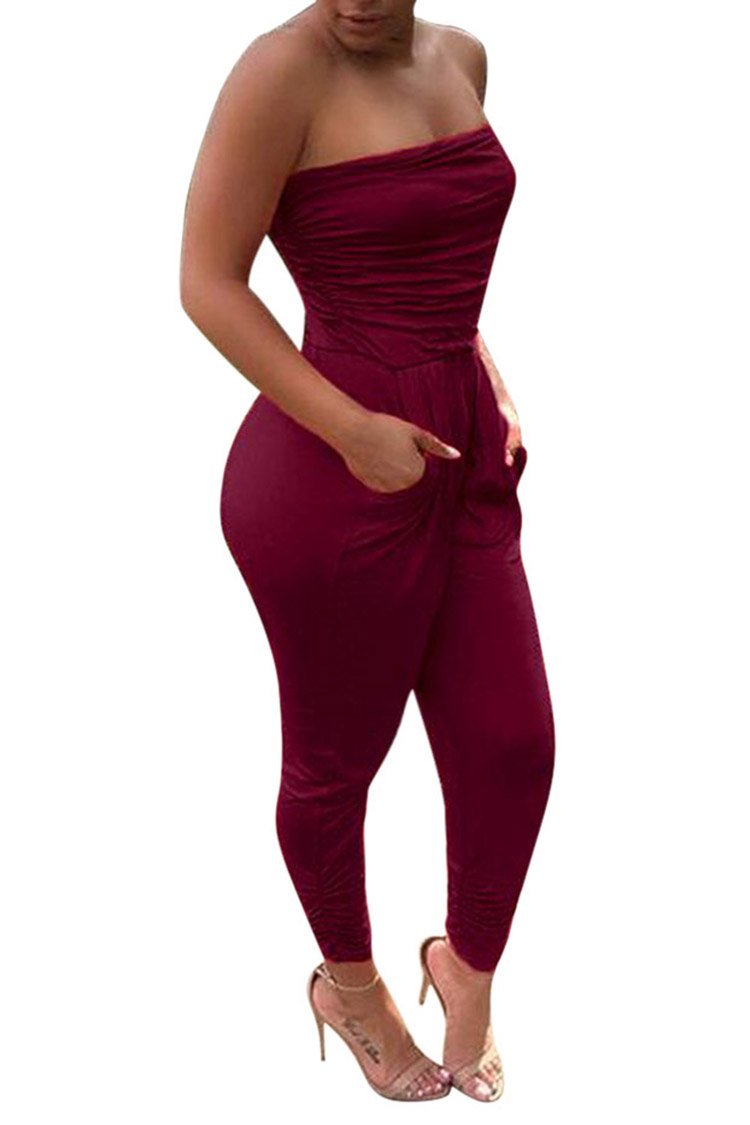 PinkWind Girls Sexy Off Shoulder Sleeveless Pull On Harem Bottom Tube Top Jumpsuits S Claret-Red