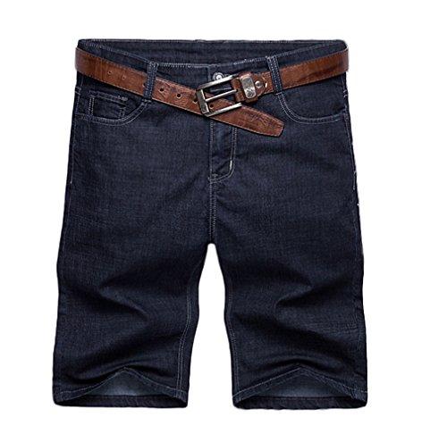 Soojun Mens Big & Tall Classic 5 Pocket Comfort Waist Black Denim Shorts, 42 W by Soojun