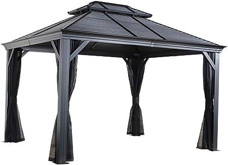 Sojag Mykonos - Carpa de aluminio con techo rígido (12 x 16 cm, 364 x 484 cm): Amazon.es: Jardín