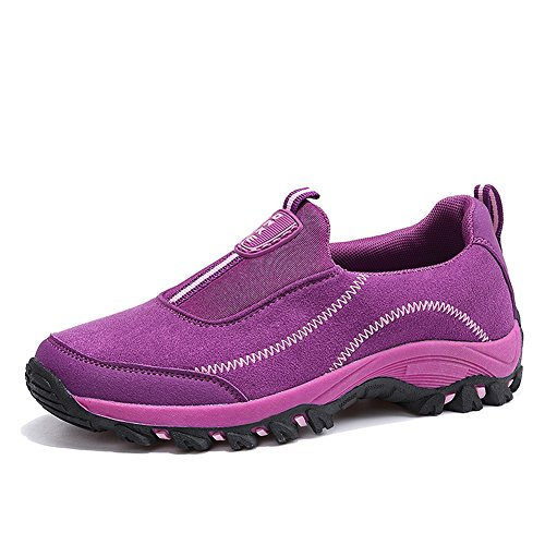 Scurtain Women's Slip on Suede Outdoor Non-Slip Sneakers Casual Elderly Walking Shoes (7, Rose)