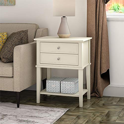Ameriwood Home Franklin 2 Drawers, Soft White Accent Table