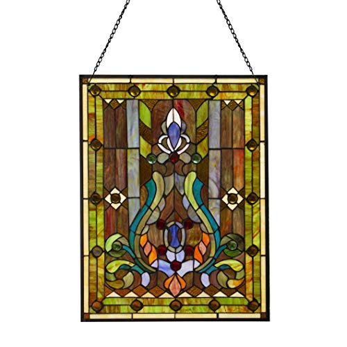 Fleur de Lis Stained Glass Panel: 2475 Inch Decorative Tiffany Style Window Hanging  Large Framed Vertical Floral Hangings for the Wall or Windows with Blue Purple Green and Red Accents