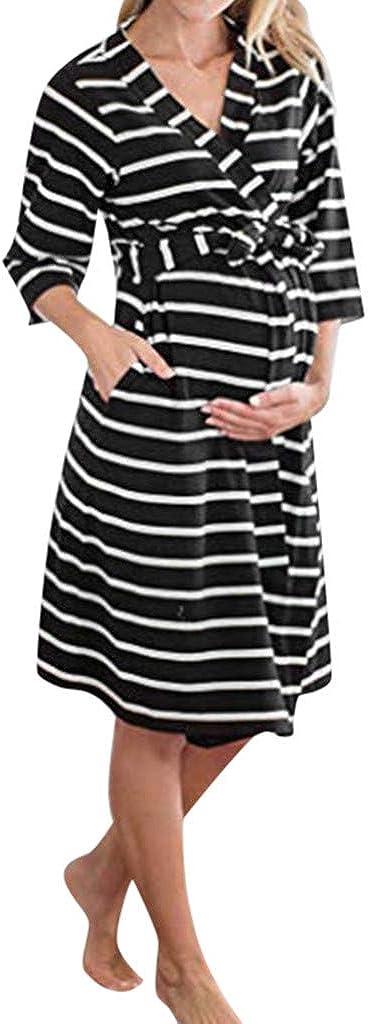 Robe de maternit/é Lomsarsh//Allaitement Maternel Manches Trois-Quarts Allaitement Maternel Femmes Enceintes Femmes Enceintes