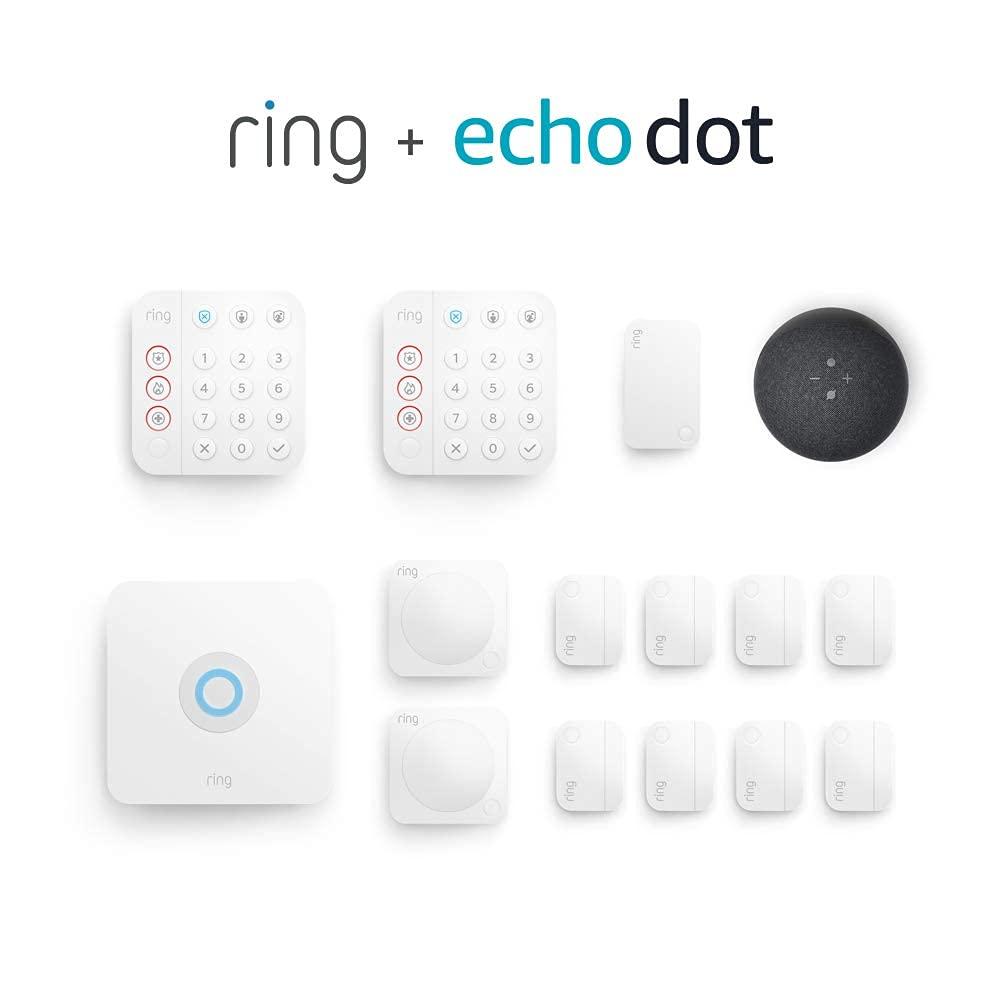Ring Alarm 14-piece kit (2nd Gen) bundle with Echo Dot (4th Gen) - Charcoal