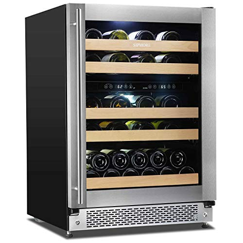 Sipmore Wine Cooler 24'' Dual Zone Wine Refrigerator 43 Various Bottle Built-in or Freestanding Stainless Steel and Double-Layer Tempered Glass Door Slide Way Shelves Stable Temperature ()