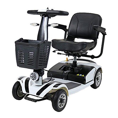 電動シニアカート 白 シルバーカー 車椅子 運転免許不要 折りたたみ 軽量 コンパクト 電動カート 四輪車 4輪車 移動 高齢者 充電 シート回転 電動車椅子 電動車いす 介護 福祉 敬老 お年寄り 老人 乗り物 贈り物 プレゼント スクーター ホワイト scooterd01wh B01N0V7X7F