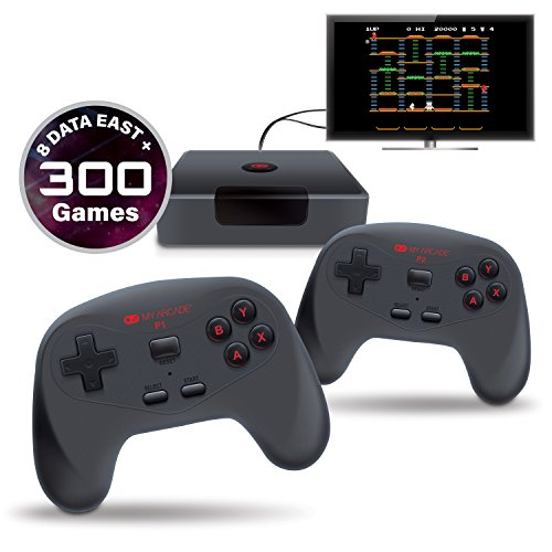 MY ARCADE GameStation Wireless Plug & Play Console 300 Built-in Retro Games w/ Data East Hits: Bad Dudes, BurgerTime, B-Wings, Karate Champ, and Many More