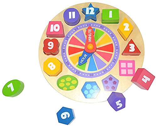 Pidoko Kids Shapes Sorting and Teaching Clock - My first Learning Clock with Glow in the Dark feature - Wooden Educational Toy by Pidoko Kids (Image #3)