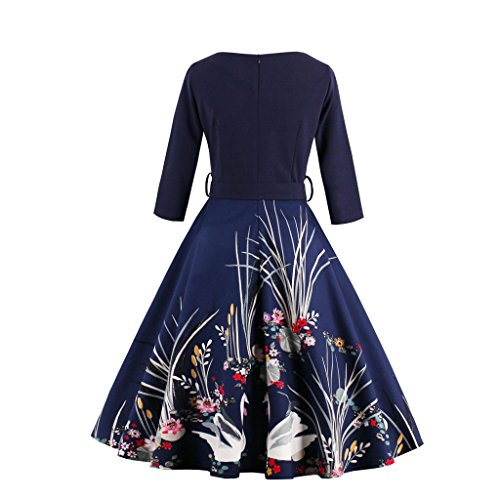 DISSA EU 50er Damen XXL Vintage 44 Rockabilly M1338 Blau Kleid Cocktail Retro EvEnrfq