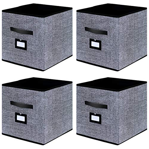 Onlyeasy Cloth Storage Bins Foldable Cubby Storage Bin - Fabric Cube Organizers Container Drawers with Dual Handles for Shelves Closet Nursery Organization, 13 x 13 x 13 in, 4 Pack Black, MXABL04PLP