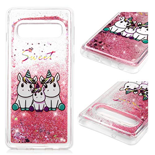 Samsung Galaxy S10 Case, Liquid Glitter Case Bling Sparkle Flowing Love Heart Cover Dual Layer Clear TPU Bumper Shockproof Drop Resistant Protective Shell for Samsung Galaxy S10 Unicorn