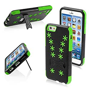 Asmyna iPhone 6 Advanced Armor Stand Protector Cover - Retail Packaging - Black/Green Snowflake Inverse