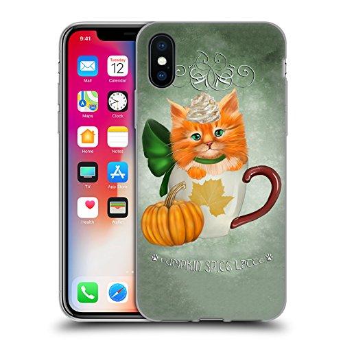 Official Ash Evans Pumpkin Spice Latte Cats On Mugs Soft Gel Case for Apple iPhone X ()